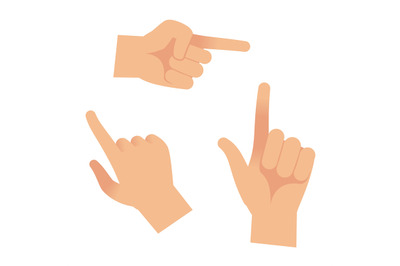 Hand in forefinger icons. Holding pointing hands drawing gesture to ob