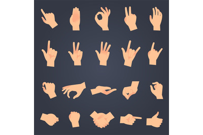 Hand position set. female or male hands holding gesture opening someth