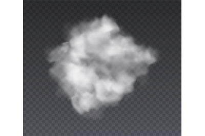 Cloudy effect. Chemistry standing fog and white smoke isolated on tran
