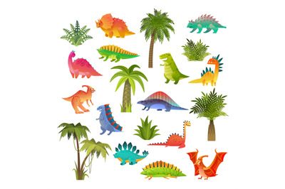 Baby dino set. Funny animal dragon and cute nature dinosaur drawing in