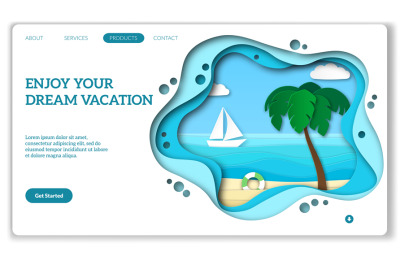 Vacation web page. Natural tourism landing for media travel internet b