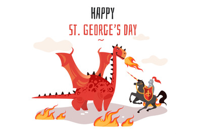 Georges day. Cartoon tradition happy saint george s green card with dr