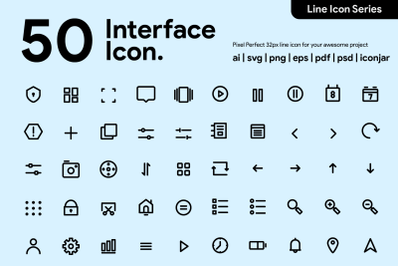 50 User Interface Line Icon