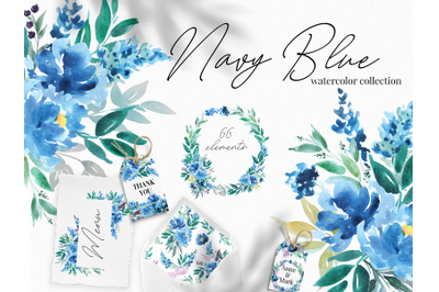 Navy Blue Watercolor Flowers