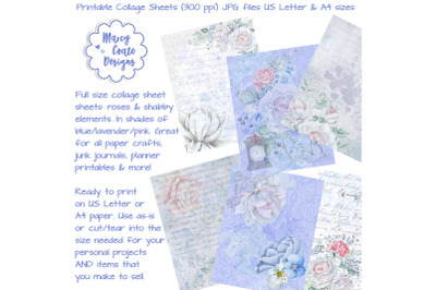 Watercolor Roses Collage Sheets Blue, Lavender & Pink