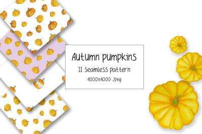 Watercolor Seamless Pattern. Pattern with pumpkins