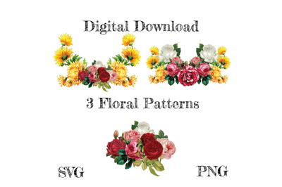 Vintage Flowers Bundle SVG, Flowers SVG, Decal, Roses, Floral Cut Fil