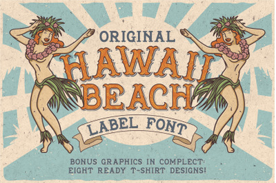 Hawaii Beach. Font & T-shirts