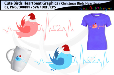 Bird Heartbeat svg Graphics / Christmas bird heartbeat SVG vector