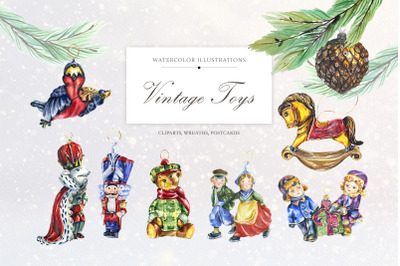 Vintage Christmas Watercolor Toys