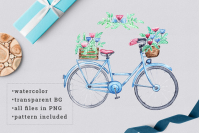 Watercolor bicycle with flowers 2