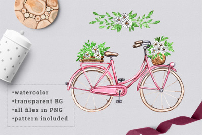 Watercolor bicycle with flowers 3