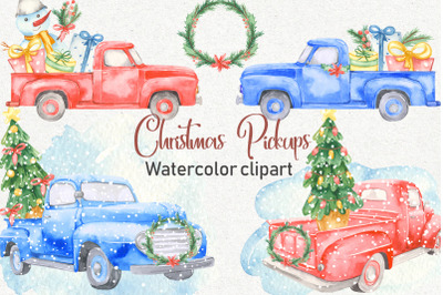 Christmas pickup watercolor clipart and Christmas elements