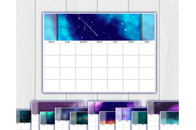 Undated printable calendar planner. 12 Months. Sunday, Monday