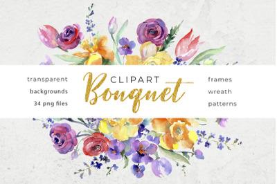 Bouquet flowers colorful mix watercolor png