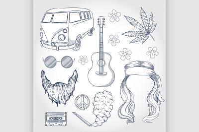 Hand drawn hippie attributes