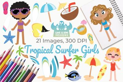 Tropical Surfer Girls Clipart, Instant Download Vector Art
