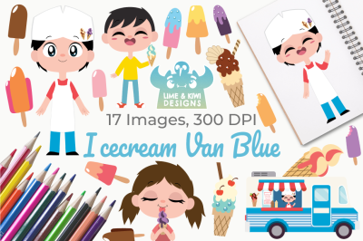 Icecream Van Blue Clipart, Instant Download Vector Art