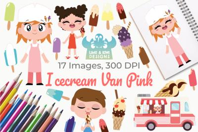 Icecream Van Pink Clipart, Instant Download Vector Art