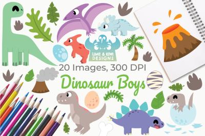 Dinosaur Boys Clipart, Instant Download Vector Art