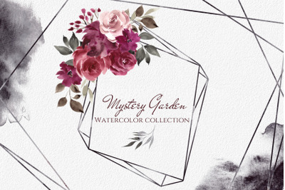 Mystery garden. Watercolor collection