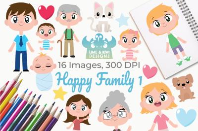 Happy Family 1 Clipart, Instant Download Vector Art