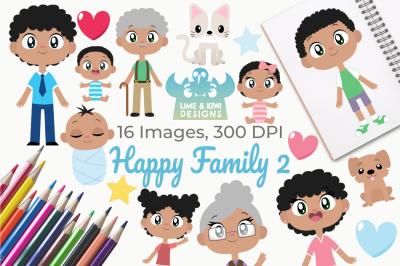 Happy Family 2 Clipart, Instant Download Vector Art