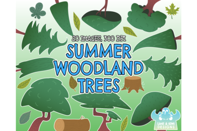 Summer Woodland Trees Clipart - Lime and Kiwi Designs