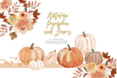 Fall Leaves clipart, Simple Fall Autumn Watercolor clipart