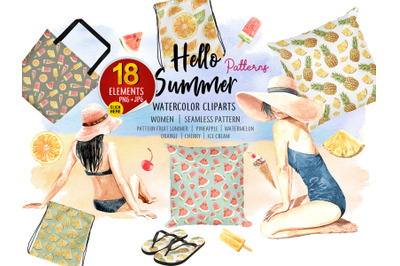 Summer Digital Pattern, Watercolor 8 Seamless Pattern and 2 Women