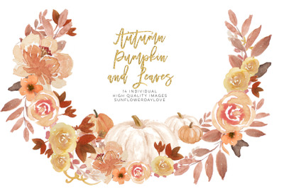 Autumn Wreath Pumpkin and leaves clipart, Autumn leaves wreaths