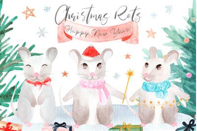 Christmas Rats. Symbol 2020 New Year