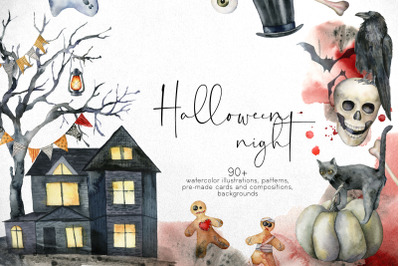 Halloween night. Watercolor clipart