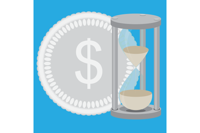 Time is money. Hourglass with silver coin vector
