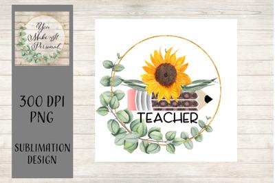 Teacher Deign, Gold Wreath with Sunflower and Pencil