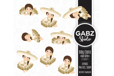 Baby Charra, Gold Glitter, Clipart