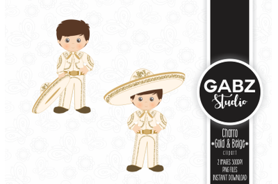 Charro, Gold and Beige, Clipart