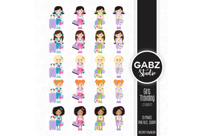 Girls Traveling Clipart