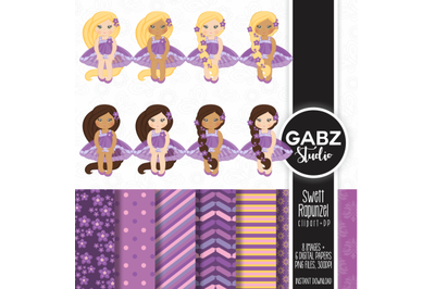 Sweet Rapunzel Clipart and Digital Papers
