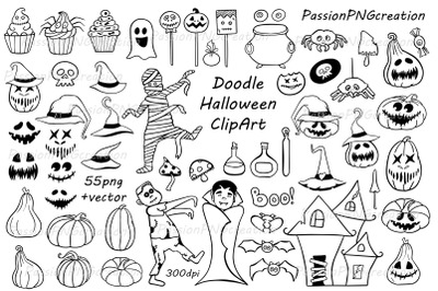Doodle Halloween Clipart, Halloween collection