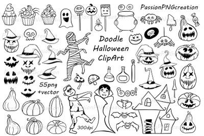 Doodle Halloween Clipart, Halloween collection