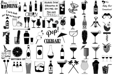 Alcoholic Drinks Silhouettes AI EPS PNG