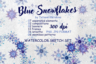Blue Snowflakes watercolor set