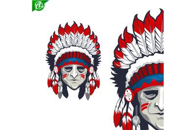 Indian man head mascot