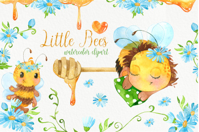 Bees. Cute bee watercolor clipart. Baby animals clip art, bumble bee,