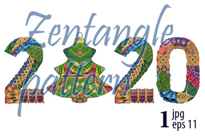 Number 2020 with a Christmas ball Zentangle. Vector decorative object