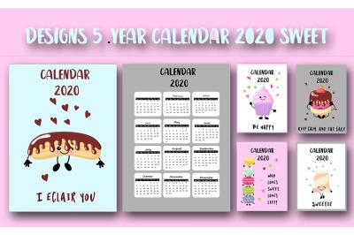 Sweet 2020 year calendar