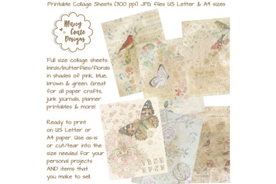 Birds & Butterflies Printable Collage Papers