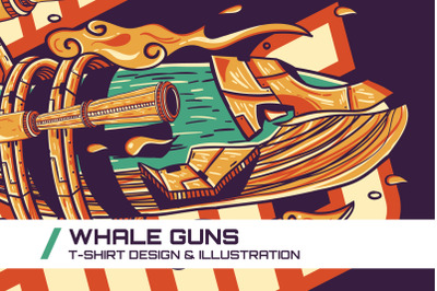 Whale Guns T-Shirt Illustration