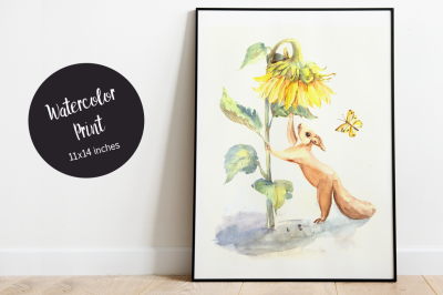 Squirrel and Sunflower Watercolor Illustration